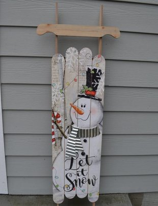 "47"" Wooden Snowman Sleigh Sign"