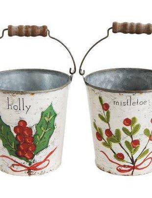 Tin Bucket w/ Christmas Foliage (4 Styles)