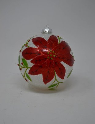 Frosted Poinsettia Ball Ornament