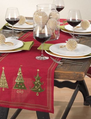 "Red Triple Tree Table Runner 16"" x 70"""