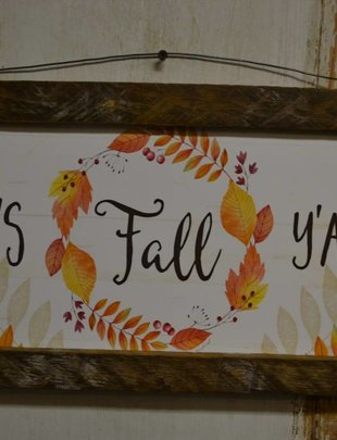 It's Fall Y'all Rustic Rectangular Sign