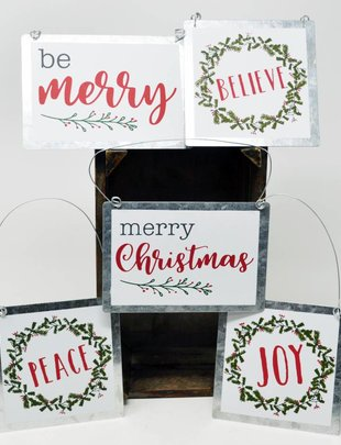 Galvanized Message Ornament (5 Styles)