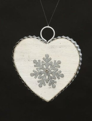 Distressed Heart Snowflake Ornament