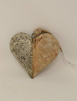 Wooden Metal Heart Ornament