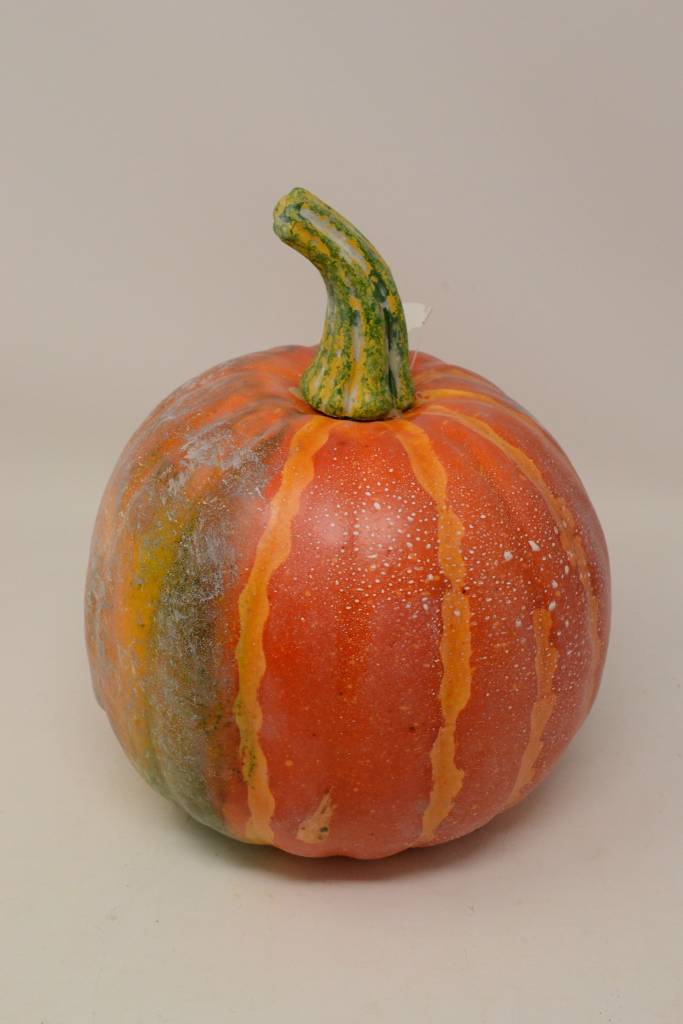 "8.5"" Weighted Orange Striped Pumpkin"
