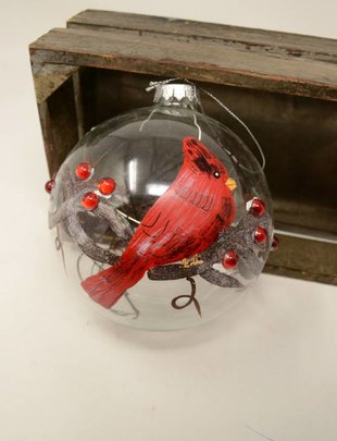 Glass Cardinal Vine Ball Ornament