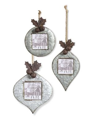 Galvanized Photo Frame Ornament (3 Styles)