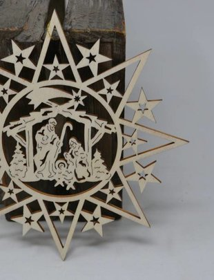Cut out Star Nativity Ornament