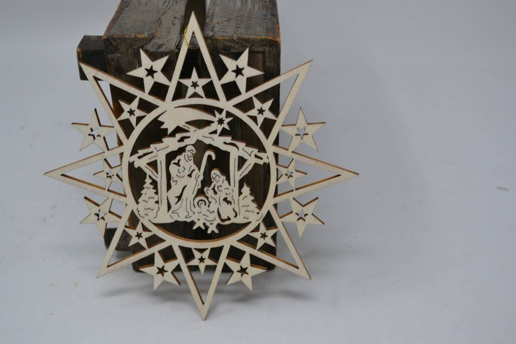 Cut out Star Nativity Ornament