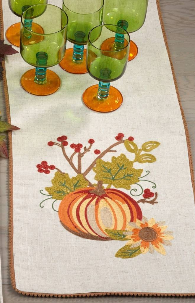 Embroidered Pumpkin Patch Table Runner