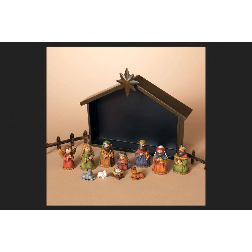 11 Piece Nativity Set w/ Metal Manger