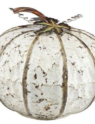 White Distressed Metal Pumpkin (2 Sizes)