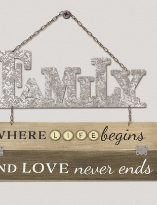 Hanging Wooden Galvanized Family Sign