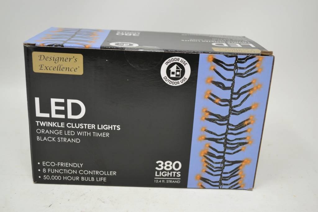 12-ft LED Orange Cluster Lights
