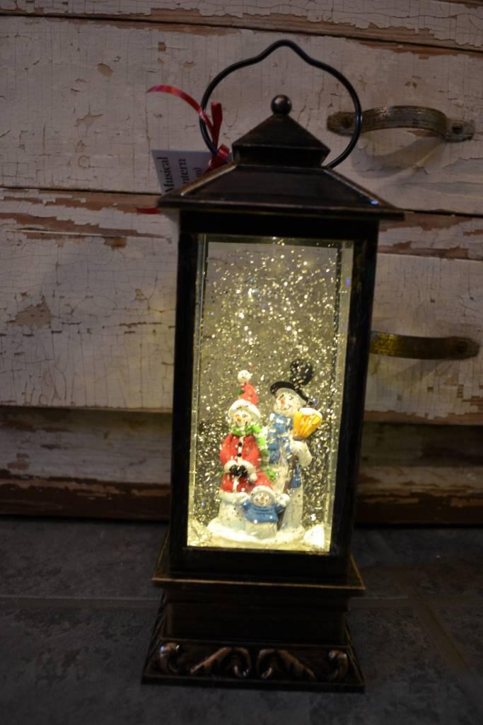 Bronze LED Musical Snow Globe Lantern