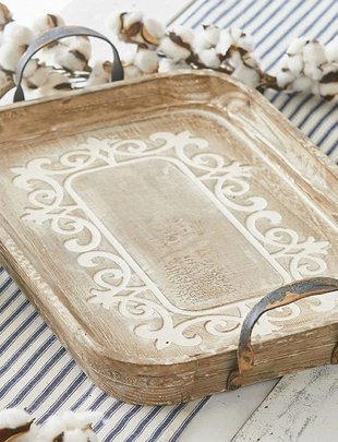 Carved Scroll Wooden Tray with Handles