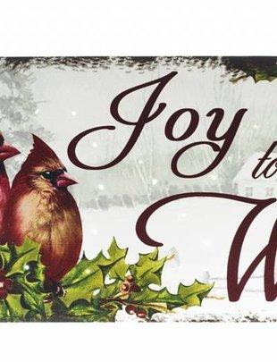 LED Joy To The World Cardinal Canvas