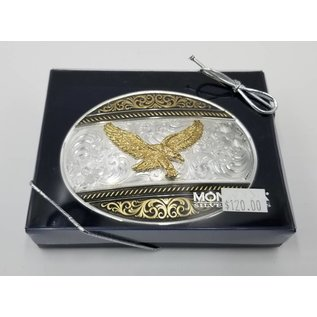 Montana Silversmiths Two Tone Western Deco Oval Buckle with Golden Eagle