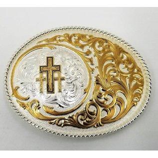 Montana Silversmiths Two Tone Wild Oasis Buckle with Triple Cross