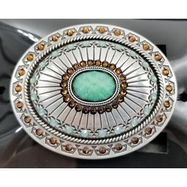 Blazin Roxx Silver Plated Topaz and Opal Blazin Roxx Women's Belt Buckle