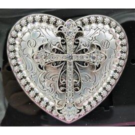 Heart Cross Rhinestone Western Cowgirl Belt Buckle 37008