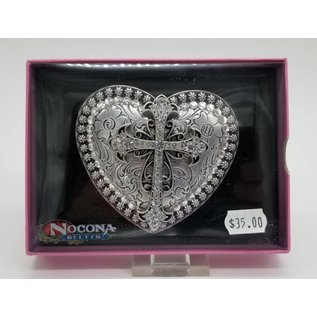 Heart Cross Rhinestone Western Cowgirl Belt Buckle 37008
