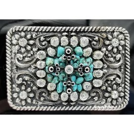 Floral Rectangle Western Buckle with Turquoise and Rhinestone Center 37662