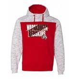 J. America W183 - Fleece Hooded Pullover - Red/White
