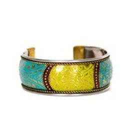 Floral Brass Cuff (Blue & Green)