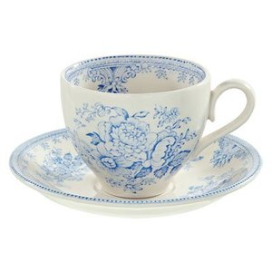 Burleigh Pottery Asiatic Pheasants Blue Teacup & Saucer