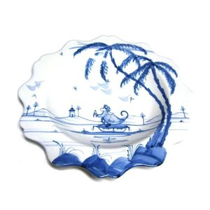 Isis Ceramics Isis Blue Playful Monkeys - Fife - Scallop Dessert Plate