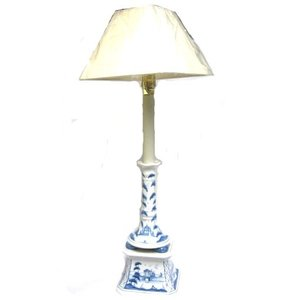 Isis Ceramics Isis Blue Palladian Candlestick Lamp with Shade