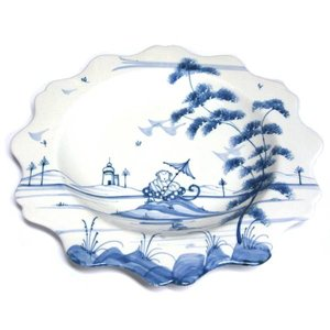Isis Ceramics Isis Blue Playful Monkeys - Clement - Scallop Dessert Plate