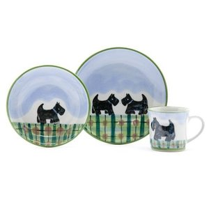 Highland Stoneware Highland Stoneware Scottie Dog Kids Set