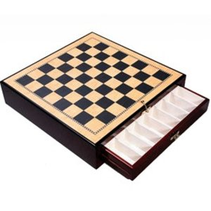 Fame High Gloss Wood Chess Board with Storage