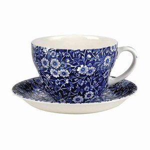Burleigh Pottery Calico Blue Breakfast Cup & Saucer