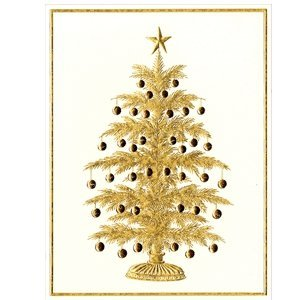 Caspari Caspari Tree with Ornaments Embossed Christmas Cards