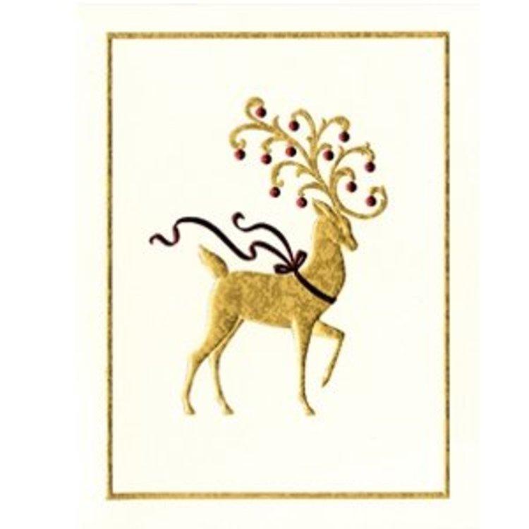 caspari reindeer embossed christmas cards - Caspari Christmas Cards