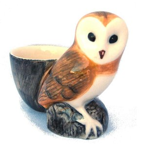 Quail Ceramics Quail Barn Owl with Egg Cup