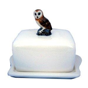 Quail Ceramics Quail Owl Butter Dish