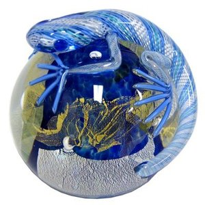 Twists Glass Studio Twists Glass Studio Lizard Paperweight - Light Blue