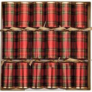 Caspari Caspari Christmas Crackers - Plaid - 6 Count