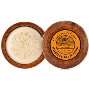 Crabtree & Evelyn C&E Moroccan Myrrh Shave Soap in a Wooden Bowl
