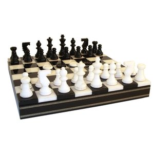 Black and White Alabaster Chess Set
