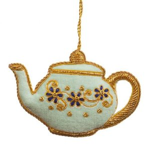 St. Nicolas St. Nicolas Blue Teapot Ornament