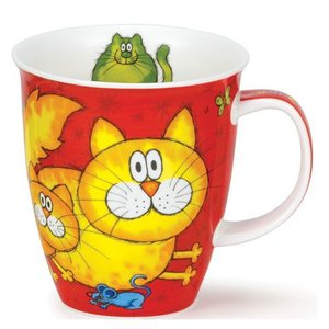 Dunoon Dunoon Nevis Cats and Kittens Mug - Red
