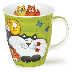 Dunoon Dunoon Nevis Cats and Kittens Mug - Green