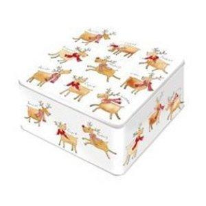 Reindeer Medium Square Tin