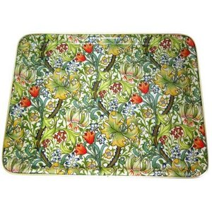 "Keswick & Arnold Designs Service Trays Keswick & Arnold Designs Golden Lily Green 17""x13"" Rectangular Tray"