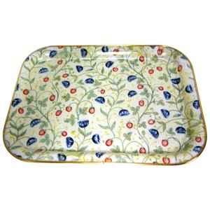 "Keswick & Arnold Designs Service Trays Keswick & Arnold Designs Strawberry & Cornflower 14""x11"" Rectangular Tray"